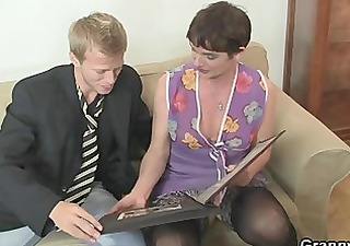 her bushy old snatch receives drilled by
