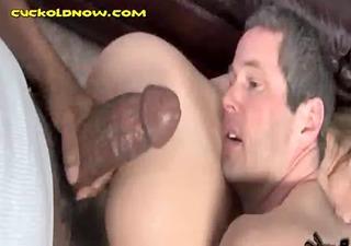 cuckold eats wife during interracial sex
