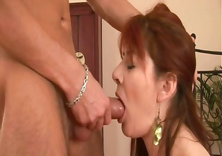 Horny mature redhead blows his boner and then