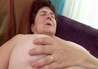 horny granny acquires her hairy pussy wet has she
