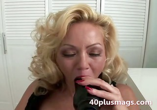 hirsute blonde sucking darksome toy