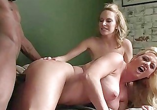Busty blonde mommas playing with big black boner