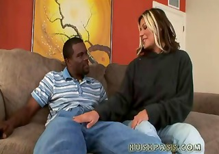 Young hot MILF Cindy gets picked up by a black